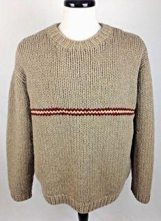 J CREW Sweater L Beige WOOL Long Sleeve #JCrew #Crewneck