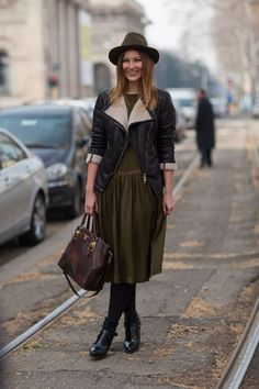 heck yes. shearling moto + the dress + the hat + the bag = sensational and right up my ally. Milan. #MFW