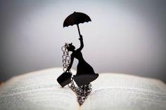 Necklace - Mary Poppins - Black-Pendant- Plexiglass