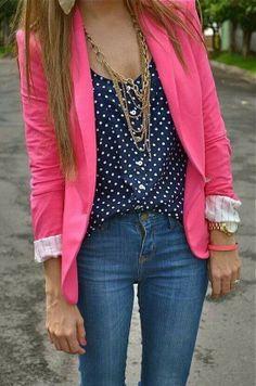 Bright blazer with polka dots