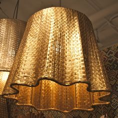 """(Click to View Larger) Selamat """"Drapery Pendant"""" in hand woven aluminum fashioned new this market in a subtle gold metallic patina.  www.Selamat.com IHFC IH004 #hpmkt"""