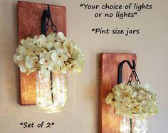 Rustic Home Decor Home & Living Set of 2 Hanging Mason Jar