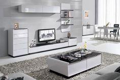 Presta 1.8m White Entertainment Unit - High Gloss TV Unit
