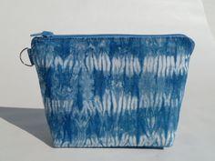 Indigo Dyed Shibori Zipper Bag/Clutch/Wristlet by asianinfluence, $19.00