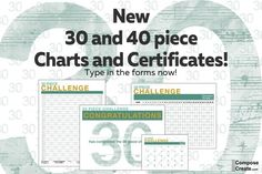 Fresh, New - 30 Piece Challenge Charts for 2016       If you've done the 30 or 40 piece challenge for several years, you might be tired of the charts that I've had available for the last 3 years. If that's the