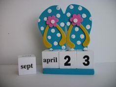 Flip Flops Calendar Perpetual Wood Block Flip Flops Shoe Turquoise Beach Decor