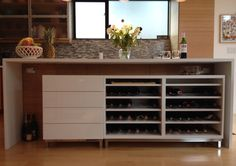 We wanted some wine storage under our kitchen island and discovered the BESTÅ units are the perfect depth — but don't offer a good bottle storage solution. There are a couple great wine rack hacks here, but none had a look that I liked. Instead, I took some OBSERVATÖR bottle racks (for use with the [&hellip