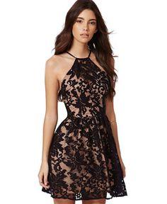 Halter Neckline Skater Dress with Black Floral Lace Detail