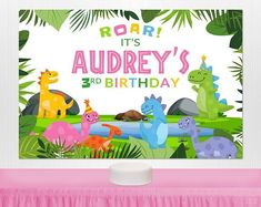 Dinosaur Birthday Backdrop for Girls Personalized by KidsPartyWorks Kids Birthday Gifts, Dinosaur Birthday Party, 3rd Birthday, Kids Party Decorations, Party Ideas, Gift Ideas, Birthday Backdrop, Backdrops For Parties, Party Shop