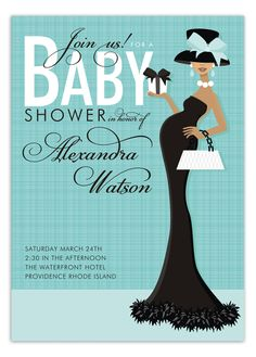 Doc Milo - African American Beautiful in Blue Baby Shower Invitation