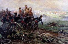 """""""De rijdende artillerie komt in stelling in de Slag bij Waterloo"""", Jan Hoynck van Papendrecht"""