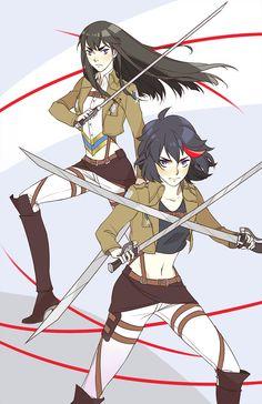 Attack on Titan/Kill la Kill print! by Dorodraws Kill la kill in attack on titan!!! that would be soo cool!!!