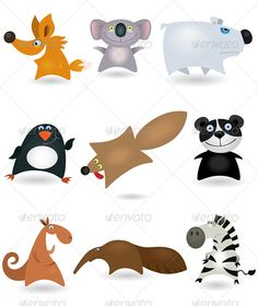 Vector animals set #4 — Vector EPS #cute #wallaby • Available here → https://graphicriver.net/item/vector-animals-set-4/644062?ref=pxcr