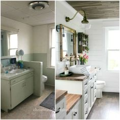 This vintage inspired farmhouse bathroom is filled with wood tones, mixed metals, shiplap, vintage treasures, and lots of DIY projects.