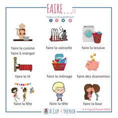 French expressions with FAIRE. Here's another infographic with some French expressions with FAIRE. French Verbs, French Grammar, French Phrases, English Grammar, French Expressions, French Language Lessons, French Language Learning, French Lessons, German Language