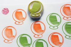 ball chair stamp. vintage furniture hand carved rubber stamp. home decor stamp. birthday scrapbooking. gift wrapping. mid century design