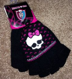Monster High Gloves with open fingers and mitten pullover