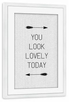 artboxONE Poster mit Rahmen 75x50 cm Typografie U Look Lovely schwarzweiß Gerahmtes Poster weiß - Wandbild Typografie Kunstdruck von Paper Pixel Print