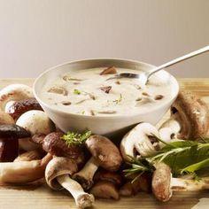 Nutrition Diva shares a healthy creamy mushroom soup recipe. Homemade Mushroom Soup, Wild Mushroom Soup, Creamy Mushroom Soup, Mushroom Soup Recipes, Wild Mushrooms, Creamed Mushrooms, Stuffed Mushrooms, Stuffed Peppers, Porcini Mushrooms
