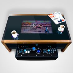 Bring arcade gaming into your home with these arcade machine coffee tables! Available in several styles, these arcade machine coffee tables feature a built in computer and nostalgic arcade buttons so that you can play all your favorite arcade-era games. Arcade Retro, Arcade Table, Bartop Arcade, Arcade Room, Coffee Table Arcade, Retro Videos, Retro Video Games, Retro Games, Sonos