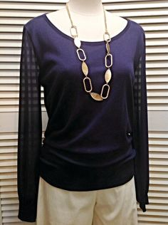August Silk  - Purple top with chiffon sleeves  - $60