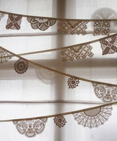 decorate with lace! perfect to hang above cake, with lace doily to match!  {dear musketeer blog}