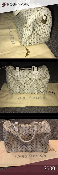 Authentic white LV speedy. Super rare!! A absolutely gorgeous authentic white LV speedy purse. Very clean purse. Used normal wear. This purse is super rare and can pretty much go with any outfit. I am selling because I need a bigger bag, and I have a baby on the way and need the money for a diaper bag. Comes with dust bag lock & keys !!! Louis Vuitton Bags Shoulder Bags