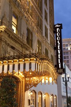 Baronne Street side of The Roosevelt New Orleans, a Waldorf Astoria Hotel.