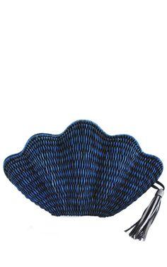 Seashell Straw Clutch by KAYU for Preorder on Moda Operandi