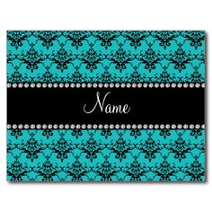 Personalized name turquoise damask post cards