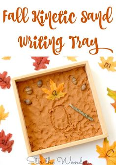 A Fall Kinetic Sand Writing Tray will fit perfectly into your fall lesson plans and help young learners practice fine motor and letter formation skills! Alphabet Activities, Learning Activities, Toddler Activities, Handwriting Activities, Preschool Alphabet, Preschool Writing, Fall Preschool, Preschool Centers, Teaching Writing