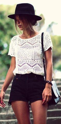 #spring #fashion #denim #outfitideas |Crochet + Cut-offs
