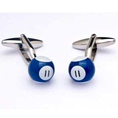 Gemelos de acero Ox bañados en rodio en forma de bola de billar con el número 11 esmaltados de color azul. http://www.tutunca.es/gemelos-bola-billar-azul