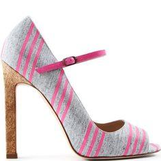Manolo flannel stripe heels