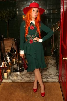 Paloma Faith at the Harper's Bazaar London Fashion Week Closing Party. Orange fish tail braids
