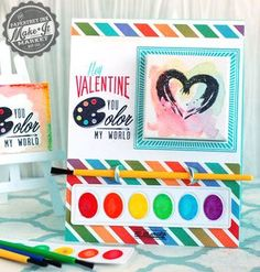 Valentine You Color My World Interactive Card by Betsy Veldman for Papertrey Ink (December 2014)