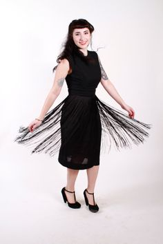 1950s Vintage Dress Black Rayon Fringe Skirt 50s by stutterinmama, $98.00