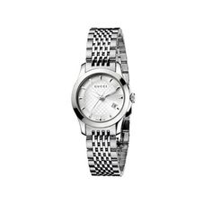 G Timeless Collection, Stainless Steel Smooth Bezel Watch with Silver Diamond Pattern Dial and Stainless Steel Bracelet