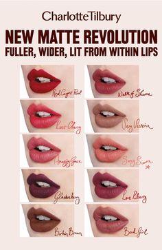 Resultado de imagen de charlotte tilbury swatches lipstick
