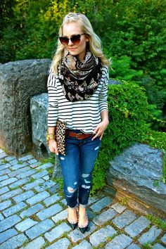 ripped jeans, striped shirt, patterned scarf