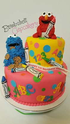 Sesame street cake. Elmo, cookie monster and crayons