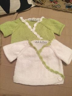 CREDIT - MadebyMarcie  Pair of knitted baby wrap cardigans  @homemadebymarcie