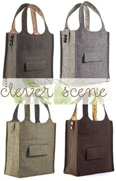 Up cycle a mens or woman's suit and make a new tote bag!  Love this idea. Inspiration.