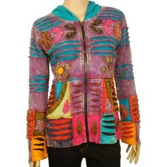 Layer-cut embroidery jacket   This zip top jacket with beautiful hand embrodiered jacket has two pockets. These are comfortable and amazing looking jackets and you will bound to get compliments everywhere you go. This jacket is easy to pair with denim or casual pants. Ribbed texture makes perfect fit for your body.