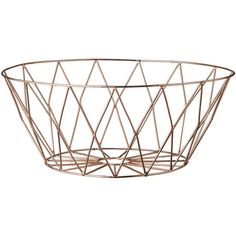 Bloomingville Copper Bread Basket ($37) ❤ liked on Polyvore featuring home, kitchen & dining, serveware, metallic, colored baskets, bread basket and bloomingville