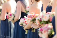 Bella bridesmaids Navy Blue Dress Adorations bouquets