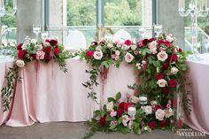 Floral Wedding, Wedding Flowers, Wedding Dresses, Floral Arch, Floral Wreath, Red Wedding Decorations, Church Flower Arrangements, Sweetheart Table, Luxury Wedding