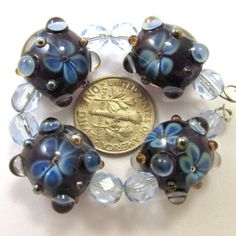 EDJ-PSYCHE-FLOWER-TRIANGLES-Glass-Lampwork-Beads-USA-SRA-Artist-Eric-Larson