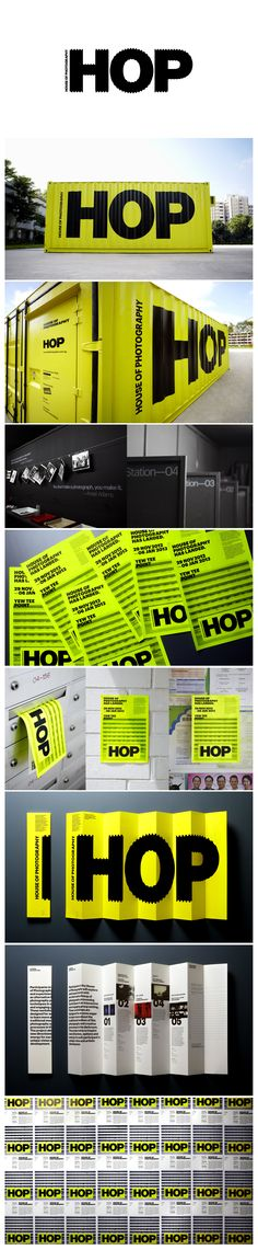 "HOP The House Of Photography marque was inspired when the initials ""HOP"" were painted across the ridges of a shipping container, resulting in the graphically distorted effect. The design is also reminiscent of sprocket holes found on 35mm film rolls, strengthening the graphic association with photography.  http://www.andlarry.com/hop"