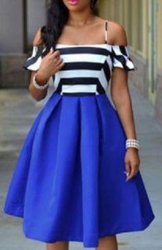 Sexy Sapphire Blue Black and White Stripe Strappy Striped Ruffled Dress For Women #Black #White #Stripe #Sapphire #Blue #Off_Shoulder #Dress #Fashion